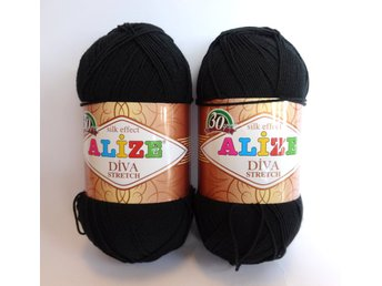 STRETCH Garn 100g Svart 400m Alize Diva silk effect