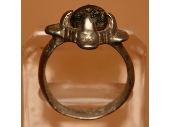 Medieval Viking Era Silver Ring with Black Stone - 19mm. /26mm.