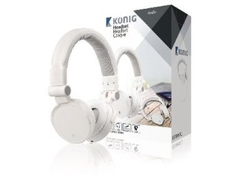 König Headset On-Ear 3.5 mm Inbyggd Mikrofon Vit