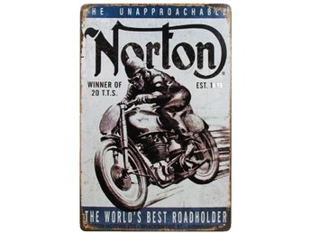 Metallskylt Norton Bike.