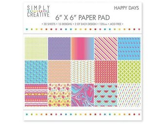 Scrapbooking papper 15 x 15 - Simply Creative - Happy Days - 15 ark