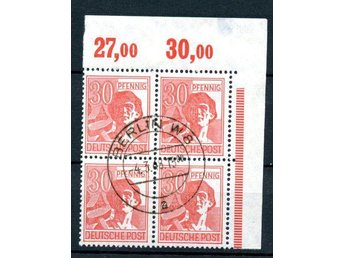 Alliierte Besetzung 1948, Mi 953 4-block sämplat Berlin 4.3.48 - Uppsala - Alliierte Besetzung 1948, Mi 953 4-block sämplat Berlin 4.3.48 - Uppsala