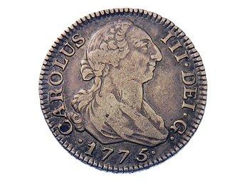 SPANIEN. Carolus III. 2 Reales 1775-PI. Madrid mint. KM C38.1. Bra ex för typen! - Alingsås - SPANIEN. Carolus III. 2 Reales 1775-PI. Madrid mint. KM C38.1. Bra ex för typen! - Alingsås