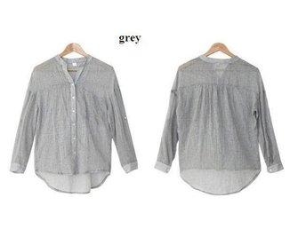 Womens linne skjorta GRÅ size L - Beijing - Womens linne skjorta GRÅ size L - Beijing
