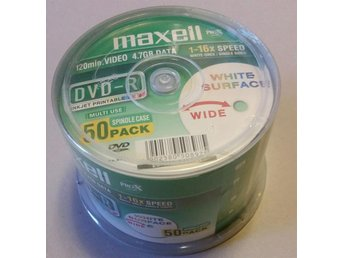 Maxell DVD+R 50-pack spindel 4,7GB data/120min video printable 16x