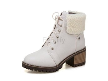 Dam Boots Lace Up Fashion Round Toe Women Boots Beige 42