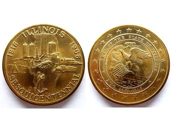 ** Illinois 1818-1968 Sesquicentennial – Seal of the State of Illinois Aug 26 **