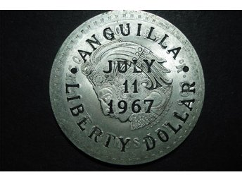 ANQUILLA COUNTERMARKED COINAGE LIBERTY DOLLAR JULY 11 1967
