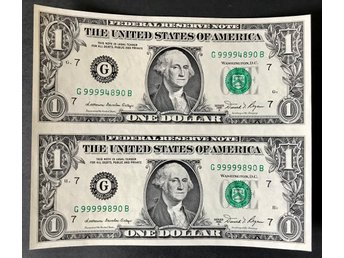 USA - USA 1981A $1 note un-cut pair in aUNC condition.