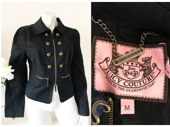 Juicy Couture fri frakt svart jacka jeansjacka kavaj officersjacka officer M