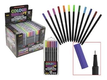 Colour Therapy 12-Pack Tusch Pennor, Fineline 0,5 mm, Måla