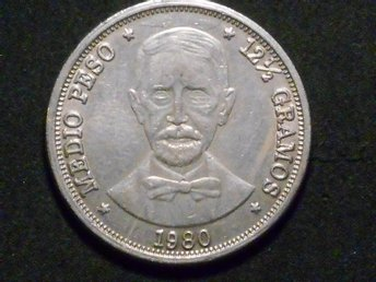 REPUBLICA DOMINICANA 1/2 PESO 1980