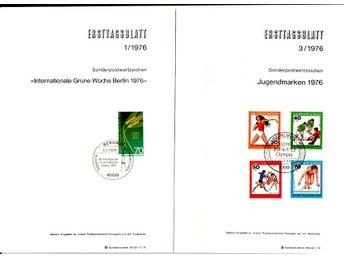 Berlin, Ersttagsblatt i A5-format, 7 st 1976 - Huskvarna - Berlin, Ersttagsblatt i A5-format, 7 st 1976 - Huskvarna