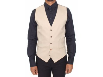 Dolce & Gabbana - Beige Cotton Dress Vest Blazer Jacket