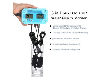 Professionell 3 in 1 LCD pH/EC/TEMP meter  Water Quality Monitor Analysis Device