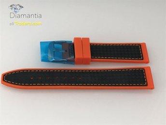 """22 mm -- NYTT -- orange gummiband med """"kolfiber"""" -- klockarmband armband gummi - Boliden - 22 mm -- NYTT -- orange gummiband med """"kolfiber"""" -- klockarmband armband gummi - Boliden"""
