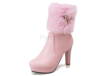 Dam Boots Toe Shoes Woman Zipper Platform CL016 Pink 40