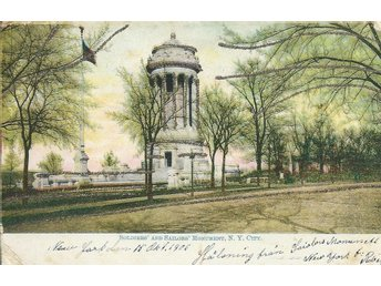 Vykort Soldiers and Sailors Monument, N.Y. City med guld kanter Stpl 15/10 - 06