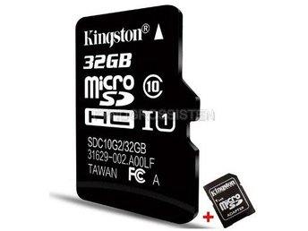 "Kingston TF Micro SD-kortminneskort ""P1TFC10 32G + SD Adapt"" Fri Frakt Helt Ny"