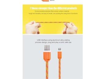 2M Fabric Nylon Braided Micro USB-kabel Laddare - Bromma - 2M Fabric Nylon Braided Micro USB-kabel Laddare - Bromma