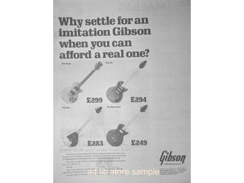 GIBSON - ELECTRIC GUITARS, STOR TIDNINGSANNONS 1978