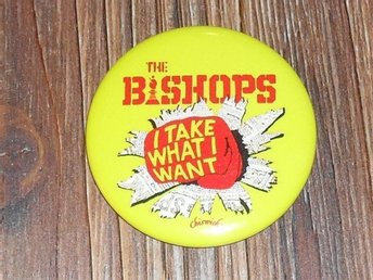 BISHOPS - STOR Badge/ Pin /Knapp (Dr Feelgood, Pubrock, Punk, Inmates,)