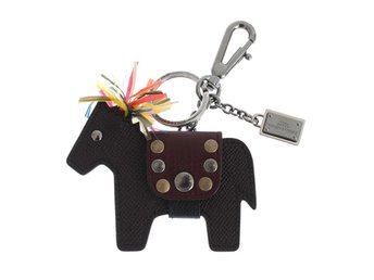 Dolce & Gabbana - Brown Leather Horse Studded Keychain