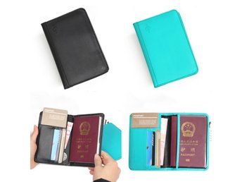 RFID Blocking PU Leather Passport Holder 9 Slot ID Credit...