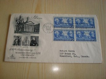 Washington and Lee University 200th Anniversary 1949 USA förstadagsbrev