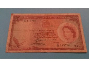 Rhodesia and Nyasaland ¤ 10 Shillings ¤ 30.1.1961 ¤ QUEEN ELIZABETH