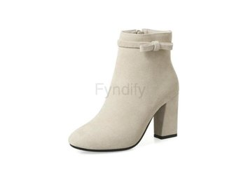 Dam Boots Toe Solid Women Winter Ankle Boots Apricot 40