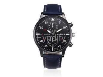 Leather Band Watch Men Blue