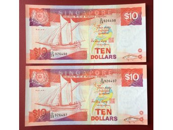 Singapore- ND(1988) 10$ a running pair P-22 both Choice UNC