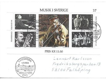 1983 Landskrona Frimärkets Dag frankerat med bl 9 Musik i Sverige - Växjö - 1983 Landskrona Frimärkets Dag frankerat med bl 9 Musik i Sverige - Växjö