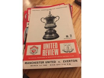 FOTBOLL Program Manchester United FC v Everton FC 1/3 1969 FA Cup Old Trafford