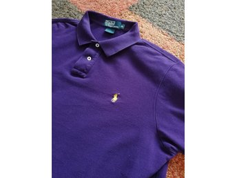 Mörklila Polo Ralph Lauren Piké strl XL Custom Fit