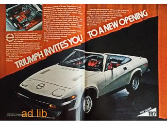 TRIUMPH TR 7 - A NEW OPENING, STOR TIDNINGSANNONS Retro 1979
