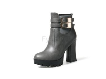 Dam Boots Match Fashion Women Motorcycle Boots Gray 40