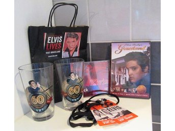 Elivis Presley kit. 2 ölglas, 1 DVD från Graceland, 1 CD & 2 VIP-badgar m. band.