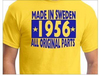Gul T-shirt : Made in Sweden 1956 - All original parts Storlek MEDIUM
