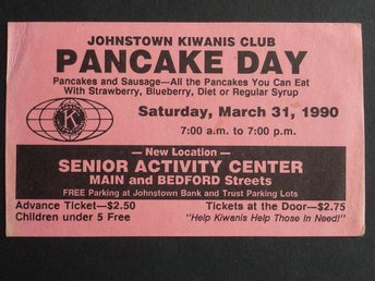 Visitkort Pancake day Johnstown Kiwanis club USA 1990