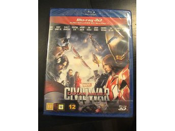 CAPTAIN AMERICA CIVIL WAR 3D / BLURAY 3D + BLURAY / SVENSK TEXT / NY & INPLASTAD