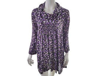The Masai Midi Dress Size S Black 100% Viscose Polka Dot Violet