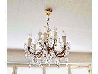 Retro Vacker KRISTALLKRONA, kristall lampa, takkruna 65x55cm, 9st ljuspunkter!!