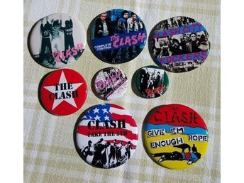 THE CLASH - 8 st - Badges / Pins / Knappar (Punk, 1977, CBS, Pistols,)
