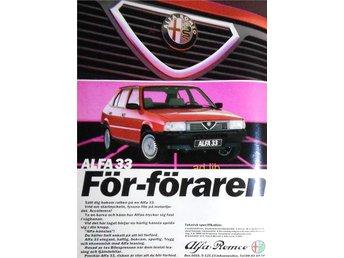 ALFA ROMEO ALFA 33 - FÖR-FÖRAREN, TIDNINGSANNONS 1987 - öckerö - ALFA ROMEO ALFA 33 - FÖR-FÖRAREN, TIDNINGSANNONS 1987 - öckerö