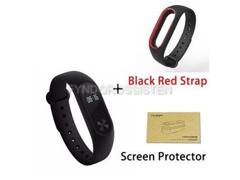 Xiaomi Mi Band 2 + Screen Protector + Black Red Strap Fri Frakt Helt Ny