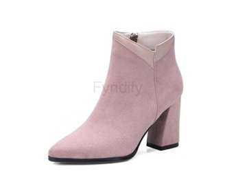 Dam Boots Zipper Winter Shoes Women Ankle Boots Pink 34