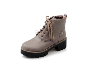 Dam Boots Solid Lace Up Women Motorcycle Boots Gray 42