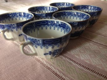 Vintage China Blue porslin 6 kaffe-koppar , utan fat